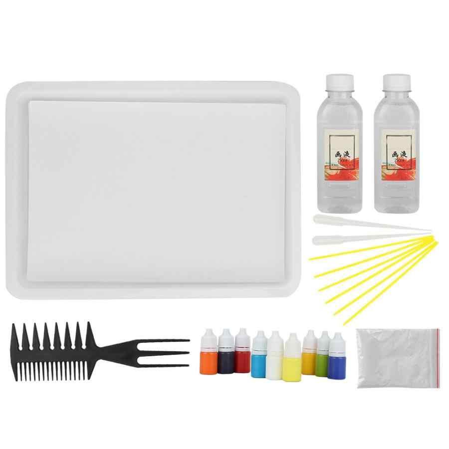 Woda marmurkowy Pigment mineralny w butelka pcv do papieru Marbling Ebru narzędzie artystyczne (losowy kolor) zestaw farb wodnych