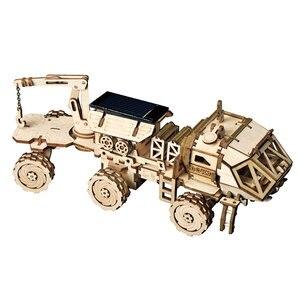 Image 5 - Robotime rokr diyソーラーエネルギー木製ブロックおもちゃモデル構築キットスペース狩猟組立おもちゃ子供のため