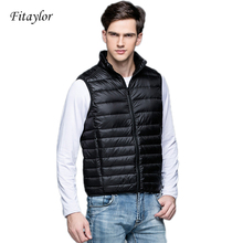 Down-Vest Winter Men Waistcoat Wine Ultra-Light Black 90%White-Duck-Down Sleeveless New