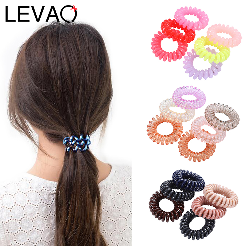 LEVAO 6PCS Electric Coil Scrunchie Solid Girls Elastic Rubber Hairband Hair Accessories Headbands Women Hair Tie Rope Ponytail
