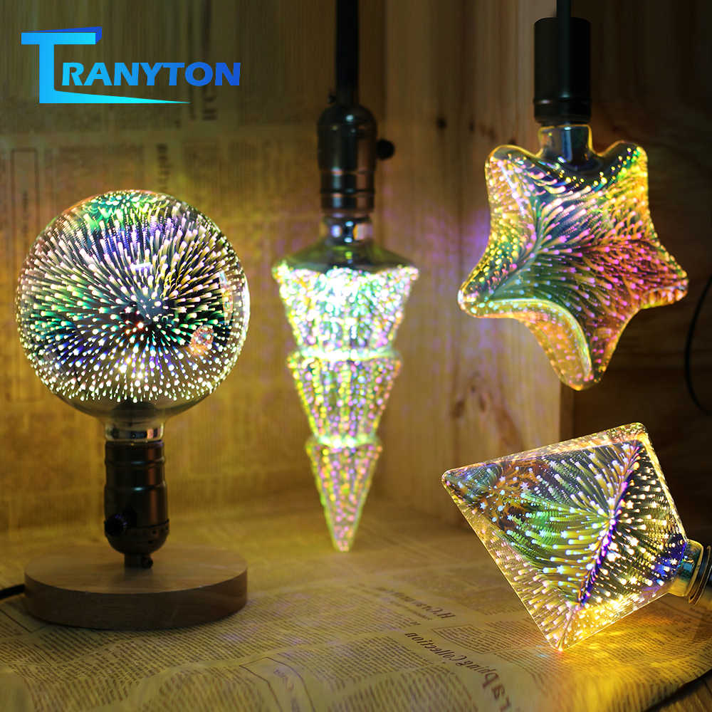 3D LED Lamp Edison Light Bulb E27 220V 4W 3D Fireworks Effect Vintage Incandescent Bulbs for Holiday Lights Christmas Decoration