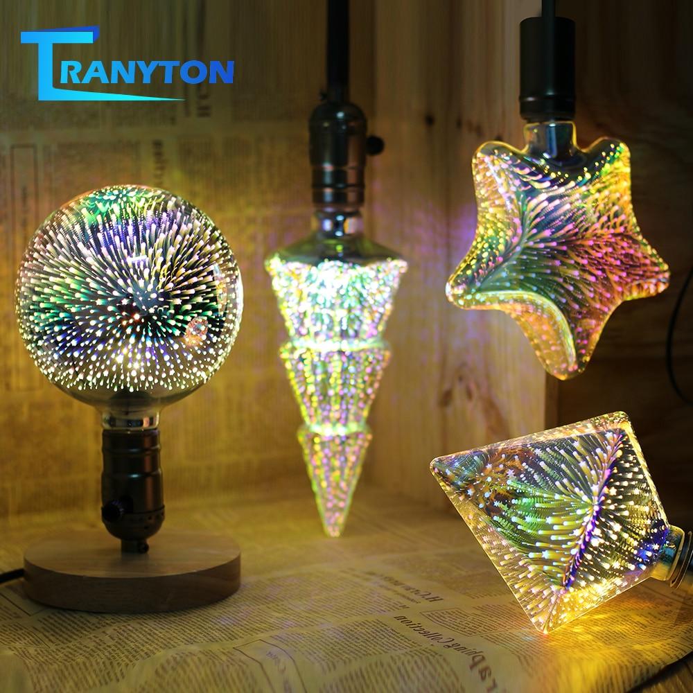 3D LED Lamp Edison Light Bulb E27 220V 4W 3D Fireworks Effect Vintage Incandescent Bulbs For Holiday Lights Christmas Decoration