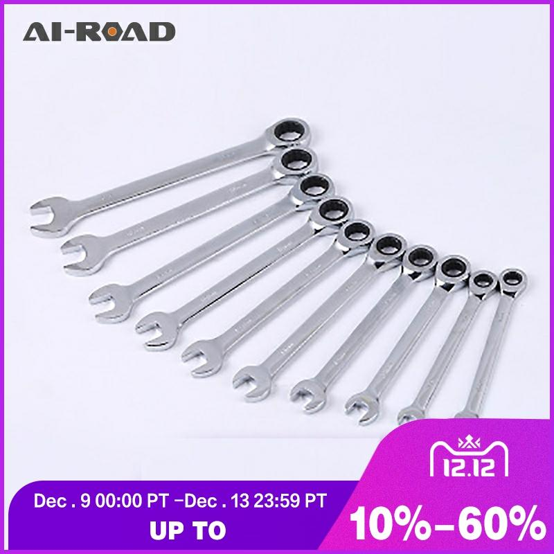 8-20mm Flexible Head Ratchet Spanner Combination Wrench A Set Of Keys Gear Ring Wrench Ratchet Handle Tools Car Repair