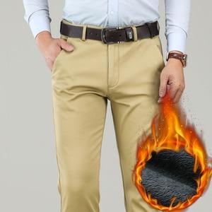 Image 4 - גדול גודל 40 42 44 חורף גברים חם מכנסי קזואל עסקי אופנה קלאסי סגנון לעבות למתוח מכנסיים זכר מותג אפור חאקי