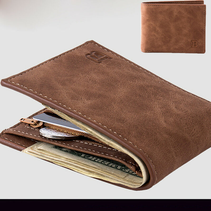 Wallet Pocket-Card-Holder Coin-Purse Clutch Bifold Business Men's Solid title=