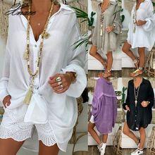 цены на Long Sleeve Plus Size Linen Shirt Women White Button Down Shirt for Women Loose Casual Cotton Blouse Tops Woman Clothes в интернет-магазинах