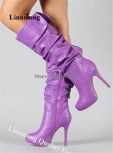 겨울 새로운 패션 여성 무릎 높은 플랫폼 pleated 무릎 높은 부츠 보라색 핑크 화이트 하이힐 롱 부츠 드레스 부츠 신발