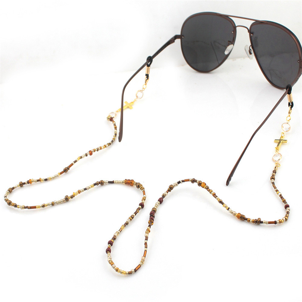 1Pc 70cm Gold Plated Ring Cross Beaded Chain Sunglasses Chains Necklace Reading Glasses Cord Holder Neck Strap Rope For Eyewear