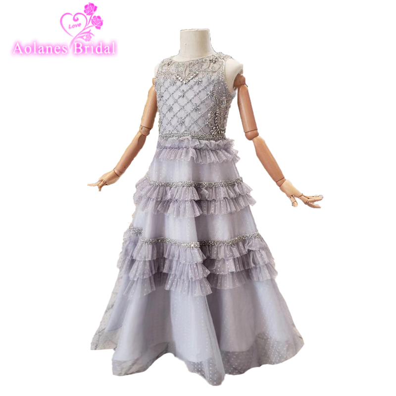 2019 Bling Sequins Flower Girl Dress Pageant Gowns For Wedding First Communion Dresses For Girls Beads Crystal Vestidos Daminha