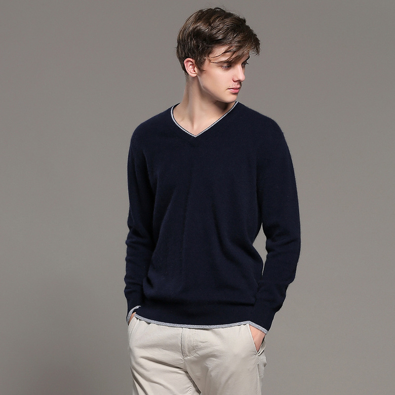 2019 New Winter Cashmere Sweater Men Loose V-neck  Fashion Men's Sweaters And Pullovers Business Casual Solid Underwear Sweater