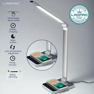 Image 1 - Lâmpada de mesa led 72 bulbo 3 cor varredura mão carregamento sem fio para o telefone 360 graus de rotação toque olho proteger com temporizador lâmpada de mesa