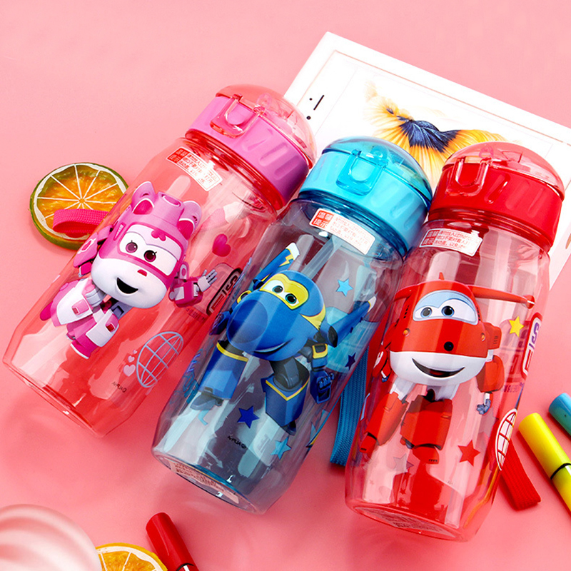 Children's Water Cup Plastic Straw Cup Anti-fall Kettle. Convenient Tritan Material Cartoon Cup Lovely BPA Free Super Wings