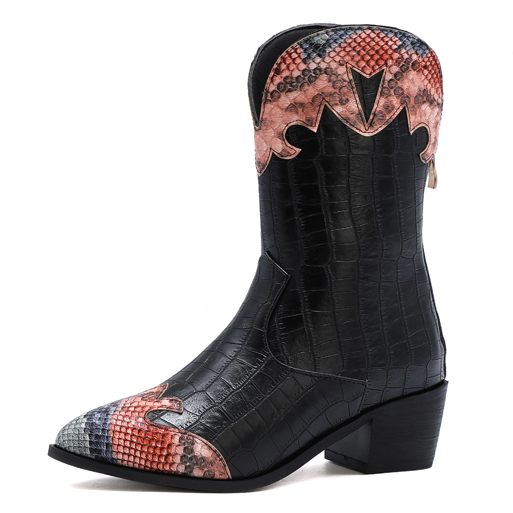 Crocodile Pattern Stitching Snake Pattern Thick Heel Mid-Calf Boots Golden Stone Pattern Snake Pattern Color Matching Boots