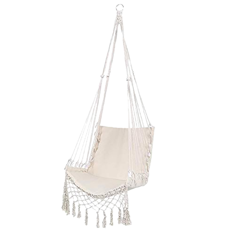 HHO-Nordic Style Hammock Safety Hanging Hammock Chair Swing Rope Outdoor Indoor Hanging Chair Garden Seat for Child Adult
