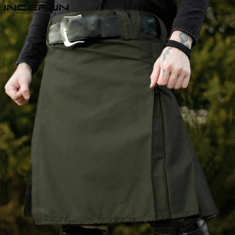 Incerun Mannen Schotse Vakantie Jurk Heren Traditionele Rok Steampunk Kilt Retro Pure Kleur Rits Mode Comfort Rokken