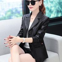Weibliche Jacke Frauen Frühling & Herbst Faux Leder Feminine Mantel 2021 Neue Casual Solide Blazer Drehen Kragen Büro Dame Oberbekleidung