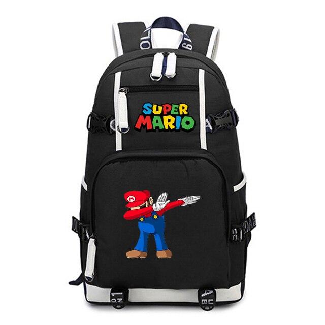 סופר מריו תרמיל נסיעות כתף מחשב נייד שקיות אנימה Backbag בני נוער ילדים בית ספר תלמיד שקיות תיק של