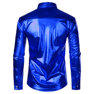 Image 2 - Luxury Royal Blue Sequin Metallic Dress Shirts Men 2019 New Long Sleeve 70s Disco Party Shirt Male Christmas Halloween Costume