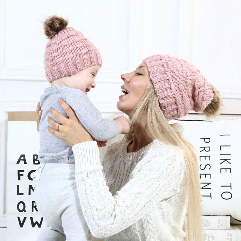 2019 New 2PCS Tollder Kid Baby Clothing Mom Beanie Hat Cap Knitted Hat Newborn Baby Knit Soild Cotton Blend Women Warm Wild Cute