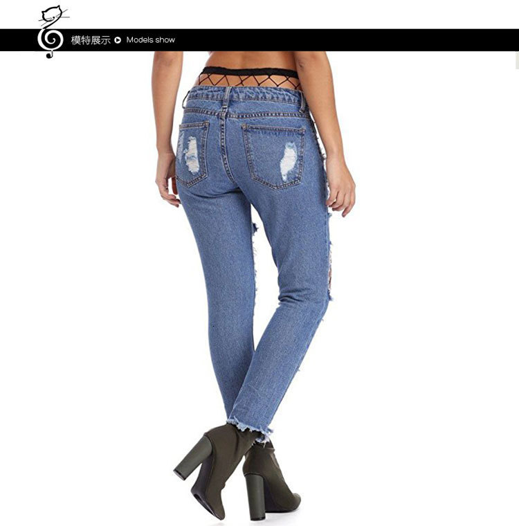 Hot Sale Hollow Out Mesh Patchwork Slim Jeans Women Low-Rice Ripped Holes Distressed Denim Pants Female Cool Boyfriend Trousers