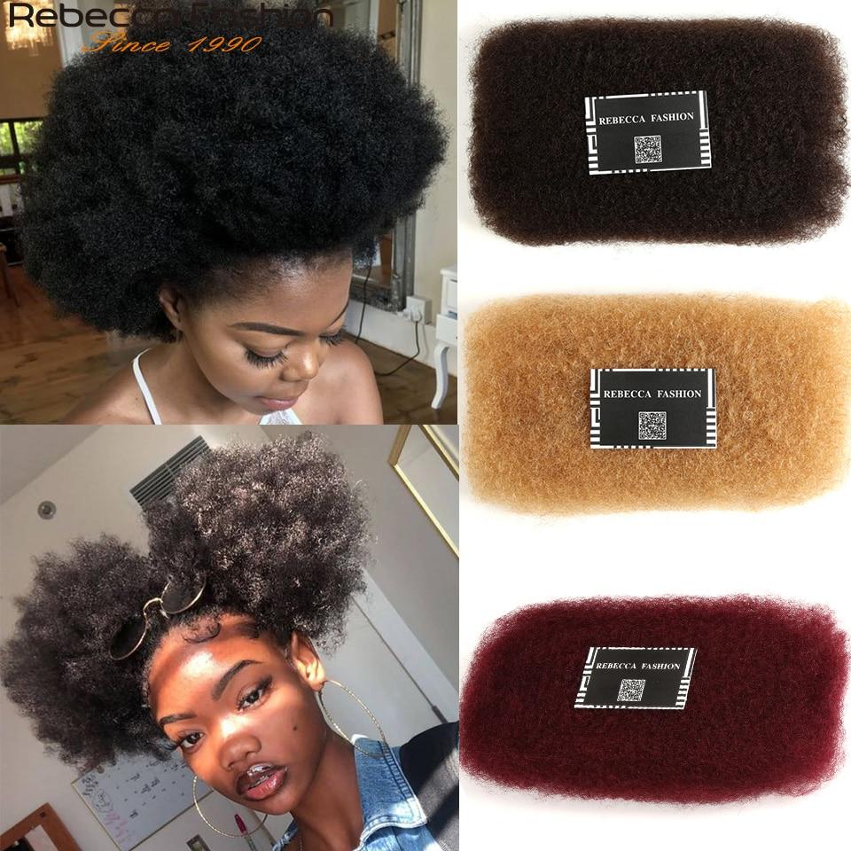 Rebecca-pelo humano Afro rizado a granel para trenzar, pelo Remy brasileño, 1 paquete de 50g por pieza, trenzas de Color Natural sin trama