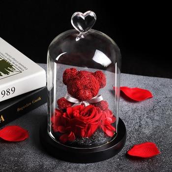 Rose ternelle conserv e adorable ours Teddy Mod le moulage dans un flacon Rose Immortal cadeaux