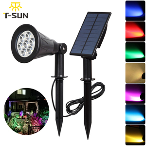 Image 5 - T SUNRISE 7 LED Solar Spotlight With Solar Panel Auto Color Changing Outdoor Lighting Solar Powered Lamp Wall Light