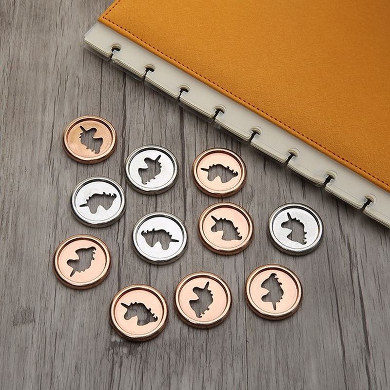 12PCS Creative Unicorn Binding Disc Buckle Mushroom Hole Button Loose-leaf Coil 360 Degree Flip Disc Buckle 28MM Binding Buckle
