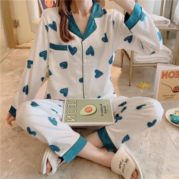 Spring And Autumn Long Sleeve New Style Pajamas Women's Imitated Silk Fabric Color Block Peach Heart Cardigan Plus-sized Homewea