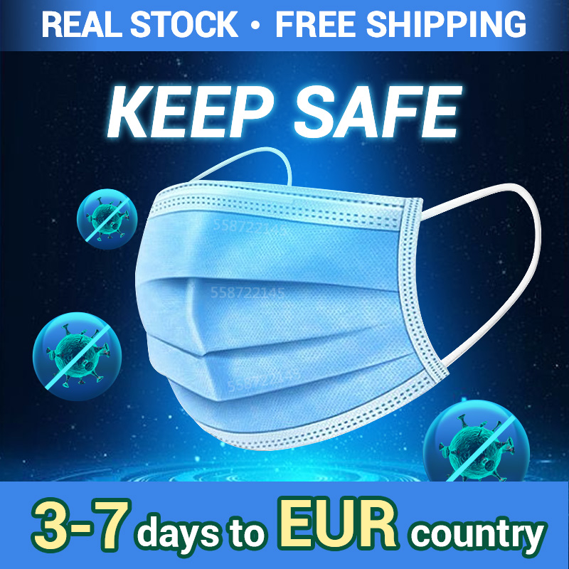 Mask Disposable Mask Face Mask Mouth Mask 3 Layer Safety Mask Meltblown Nonwoven Elastic Earloop Mask