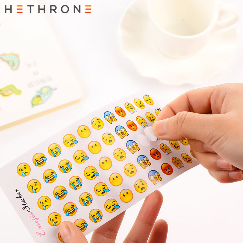 Hethrone Mini Cute Cartoon Face Sticker Round Paper Label Sticker Hand Account Sticker DIY Bullet Journal Stickers Kawaii Decora