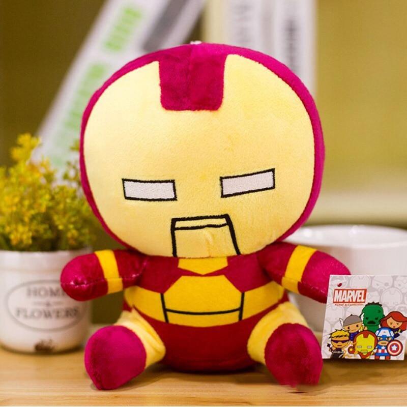 Marvel Мстители 4 плюшевые игрушки супергерой плюшевые куклы Капитан Америка, Железный человек Человек-паук Тор плюшевые мягкие игрушки Человек-паук - Цвет: Темно-красный
