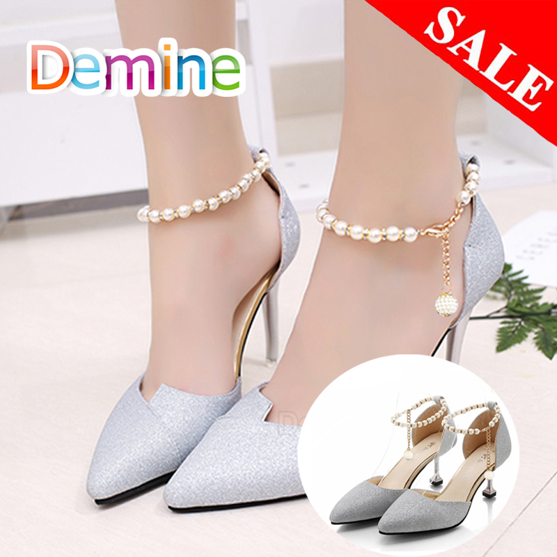 Women Shoelaces For High Heels Pearl Heels Band Shoe Belt Ankle Holding Loose Anti-skid Bundle Tie Straps Band Shoes Decoration