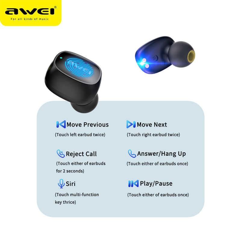 AWEI T13 bezprzewodowy bluetooth tws true douszne douszne HiFi Mini kapsułki dotykowy sterowanie z mikrofonem radio HiFi do gier słuchawki douszne