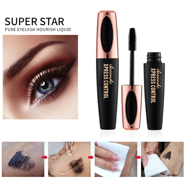 Waterproof 4DSilk Fiber Eyelash Thick Lengthening Black Mascara Fashion Sexy Makeup Cosmetics Eye Lash Extension Cream Eyelashes 2