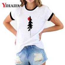 Women T Shirts Graphic Tees Simple Sun Tree 3D Print Summer Harajuku Short Sleeve Casual White Unisex Tops