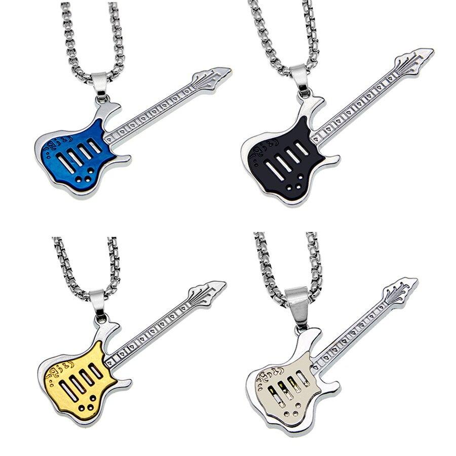 Модное мужское металлическое ожерелье для гитары, кулон в виде музыкальной ноты, бас-инструмент, цепочка из нержавеющей стали для свитера, ю...