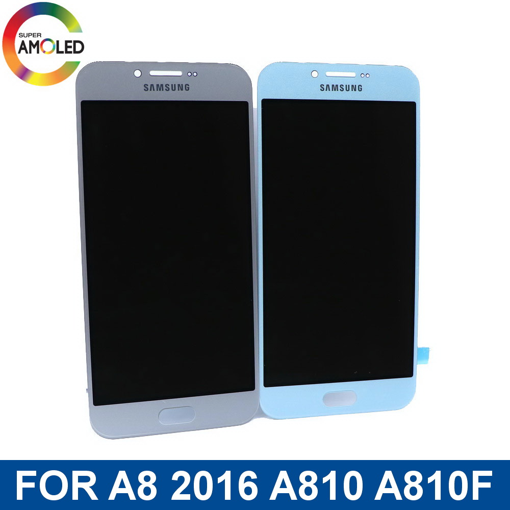 Super AMOLED  LCD For Samsung Galaxy A8 2016 A810 A810F LCD Display Touch Screen Digitizer Assembly With Brightness Adjustment
