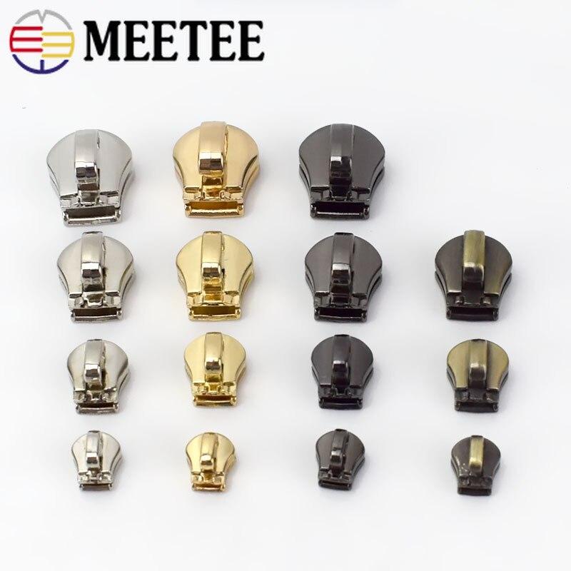 Meetee 10 шт. 3 #5 #8 #10 # металлическая головка на молнии, слайдер, сумка с замком на молнии, багажная одежда, набор для ремонта, аксессуары для оборудования, AP604|Бегунки для молнии|   | АлиЭкспресс