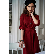 Women Vintage Elegant Sashes Front Button Party Dress Long Sleeve Turn Down Coll