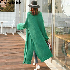 Image 1 - Colorfaith New 2020 Autumn Winter Womens Sweaters Korean Style Minimalist Solid Multi Colors Casual Long Cardigans SW8528