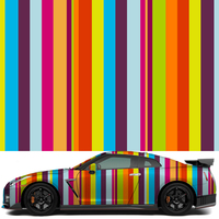 1.52x30m Whole Roll Sticker Bomb Film Rainbow Stripes Sticker Bomb Vinyl Wrap For Car Wrapping Decals Sticker
