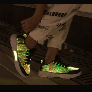 Image 3 - Size 35 46 Childrens Lighted Shoes Boys Girls Glowing LED Sneakers for Kids Mens Womens with Luminous Sole fiber optic shoes