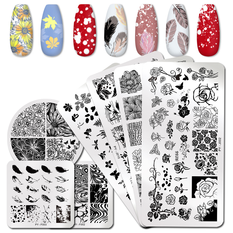 PICT YOU Flowers Series Nail Stamping Plates Rose Flower Leaf Nail Art Stamping Templates DIY Stencil Tool Nail Art Image Plate