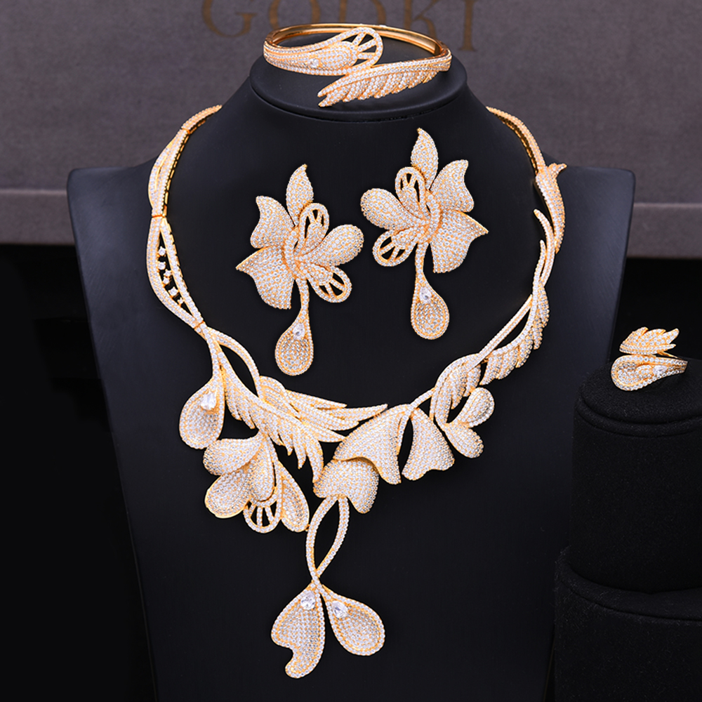 GODKI Luxury Butterfly Dubai Gold Jewelry Set Nigerian Wedding African Beads Bridal Jewellery Set Cubic Zircon Ethiopian Jewelry