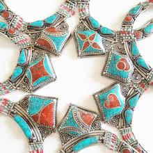 Непальское, индийское, медное инкрустированное ожерелье с цветным камнем, тибетское ювелирное изделие, распродажа TNL583