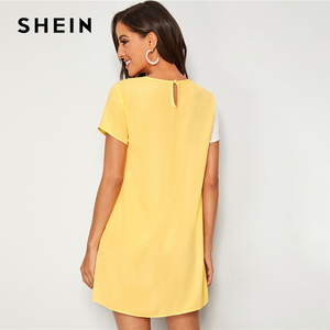 Image 4 - SHEIN Sequin Detail Colorblock Tunic Short Dress Women Keyhole Back Short Sleeve Round Neck Straight Loose Casual Dresses