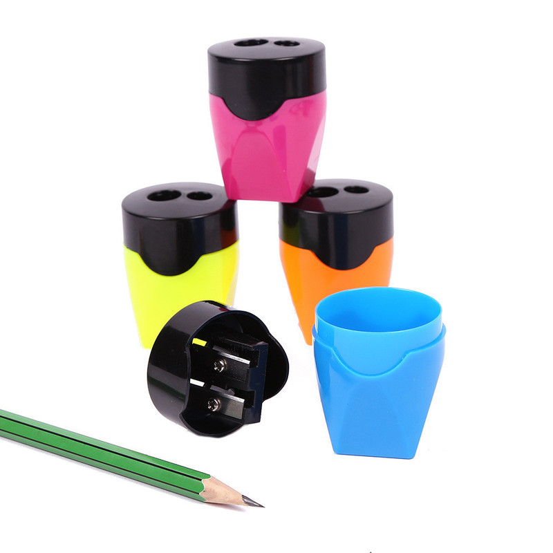 2pcs Cute Double Holes Pencil Sharpeners Multi Thick Rod Pencil Sharpener Candy Color Pencils Cutter Stationery Classroom Supply