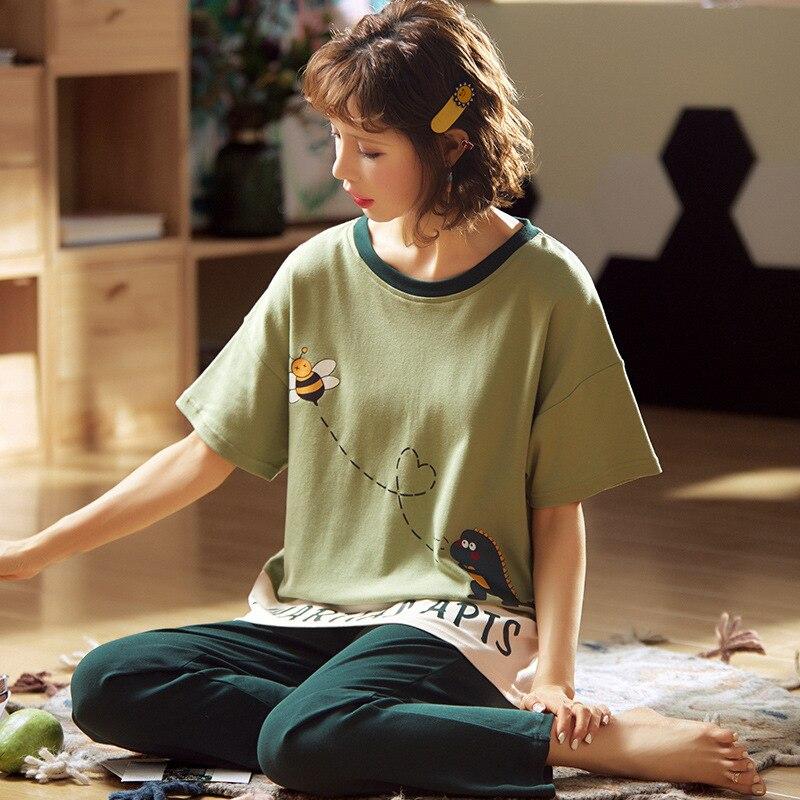 2020 New Summer Thin Korean Homewear Women 2 Pieces Pajamas Sets Plus Size Cartoon Cotton Sleepwear Short Sleeve Tops+Trousers