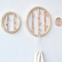 Solid Wood Round Wall Hanging Clothes Hook Decorative Crochet Nordic Wooden Q1JB